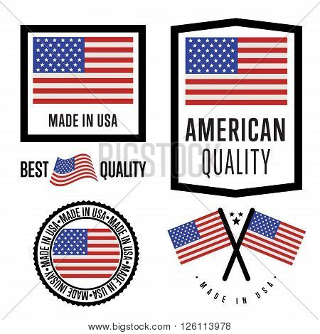 Made in USA label set. Vector USA flag. Symbol of quality. Manufacturing by United States of America. Tags and sticker collection. Vintage and modern stamp.