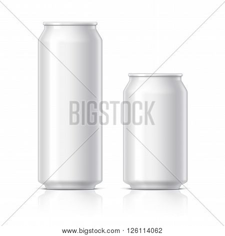 light and shiny aluminum cans for beer and soft drinks or energy. Packaging 500 and 330 ml. Object shadow and reflection on separate layers. Vector illustration