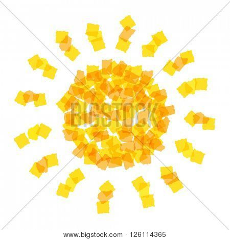 Sun icon made with orange pieces