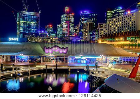 Sydney Australia - November 10 2015: Sydney city skyline view from Pyrmont Bridge at night time. Long exposure camera settings applied.