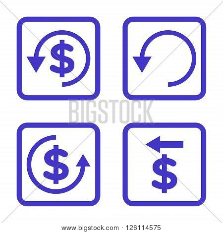 Chargeback vector icon. Image style is a flat icon symbol inside a square rounded frame, violet color, white background.