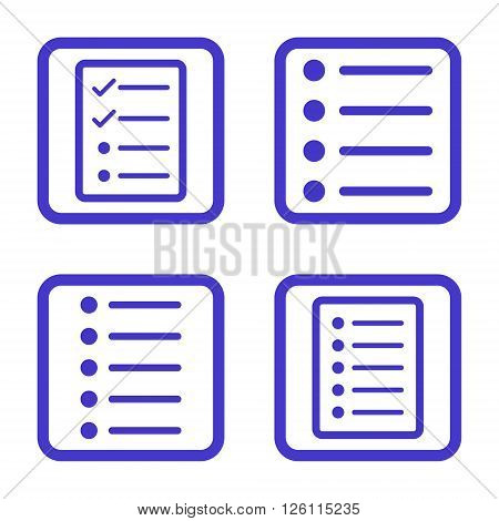 List Items vector icon. Image style is a flat icon symbol inside a square rounded frame, violet color, white background.