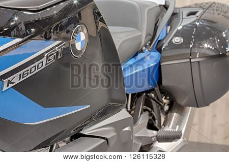 BRNO ,CZECH REPUBLIC-MARCH 4,2016: Close up of inscription on motorcycle BMW K 1600 GT on International Fair for Motorcycles on March 4,2016 in Brno in Czech Republic