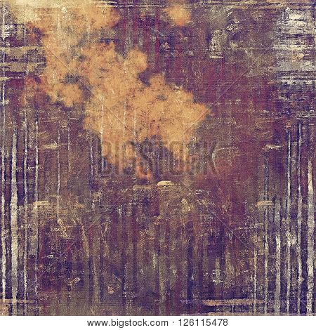 Abstract vintage background with grunge effects, ragged elements, and different color patterns: yellow (beige); brown; gray; purple (violet); pink