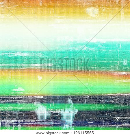 Background with dirty grunge texture, vintage style elements and different color patterns: yellow (beige); red (orange); green; blue; black; white
