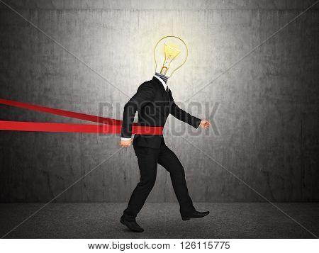 Concept of successful idea in a finishing line