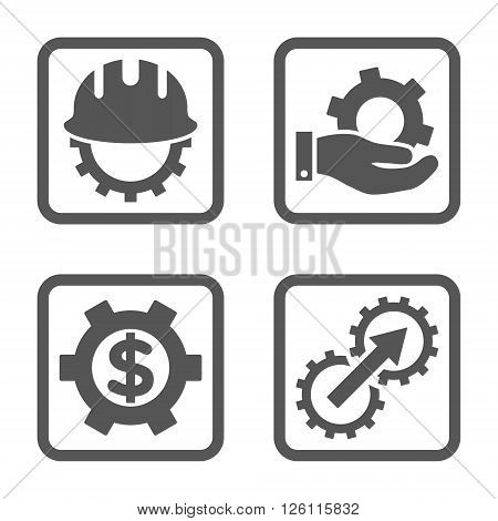 Development vector icon. Image style is a flat icon symbol inside a square rounded frame, gray color, white background.