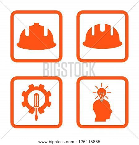 Development vector icon. Image style is a flat icon symbol inside a square rounded frame, orange color, white background.