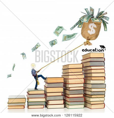 The concept of investing in education. Young man climbs on rope ladder on book to gain knowledge on isolated white background.