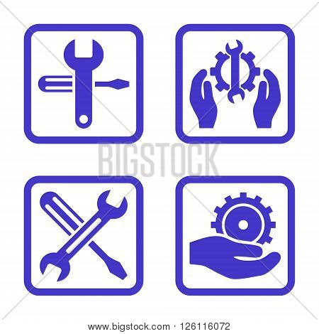 Service Tools vector icon. Image style is a flat icon symbol inside a square rounded frame, violet color, white background.