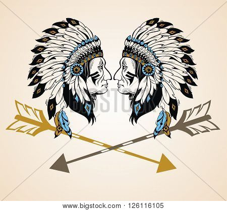 Apaches Mascot for your design. Vector illustration