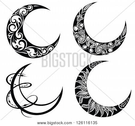 Set of moon . Collection of decorative and ornamental moons