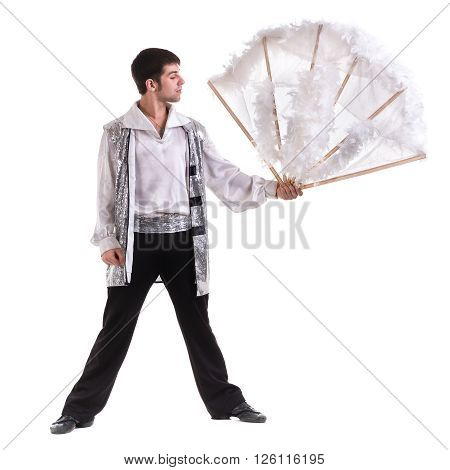Young and stylish modern ballet dancer, isolated on white background. Full body.