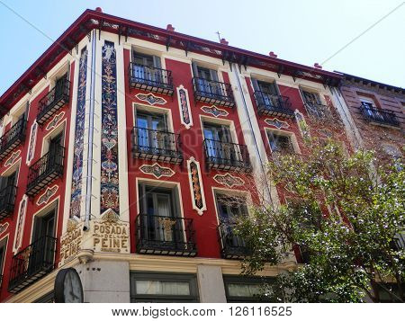 Typical apartments or housing in Madrid Spain near the Plaza Mayor