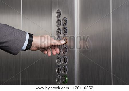 Pressing the button inside of the elevator