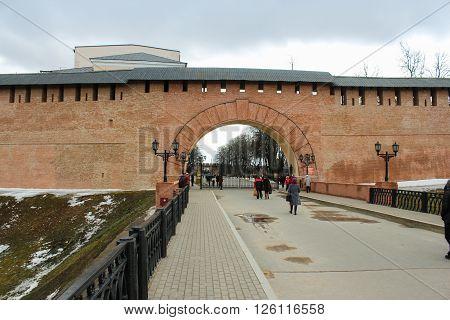 Velikiy Novgorod, Russia - 12 March, Western Gate (Arch Resurrection) of the Novgorod Kremlin, 12 March, 2016 Types of towers and walls of Kremlin in Veliky Novgorod.