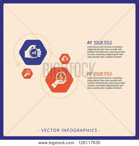 Multicolored hexagon diagram templates with dotted arrow line and icons