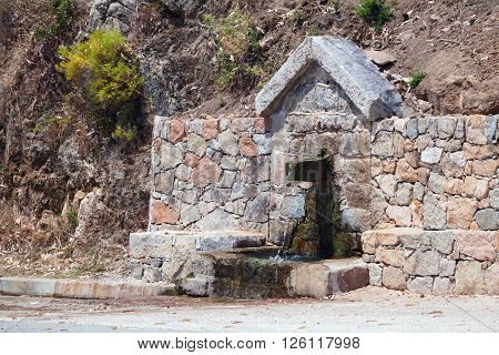 Clear Drinking Water Source. South Corsica