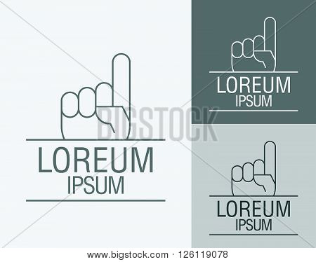 Vector sign template. Hand with a raised index finger up. Vector illustration