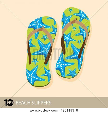 pair of orange beach slippers with starfish decoration, eps10 vector