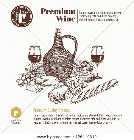 Vector background with hand drawn wine bottle, cheese, bread and wineglass. Winery illustration. Template design.