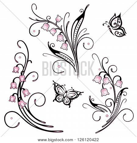 Filigree flowers, lily of the valley vector set with butterflies.