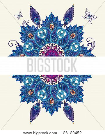 Seamless vector background with oriental pattern.Flowers with peacock feathers.