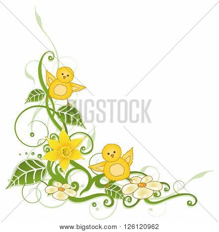 Colorful easter tendril with leaves and easter chicks.