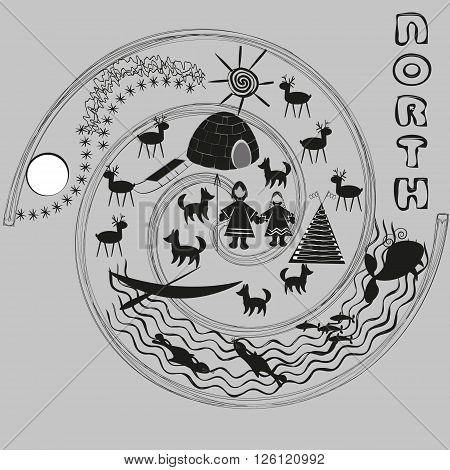 Drawing Welcome to the North Illustration Welcome to the North is drawn in black and white style primitive on a gray background for decoration and design