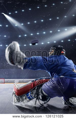 A young ice hockey goaltender in a ready position