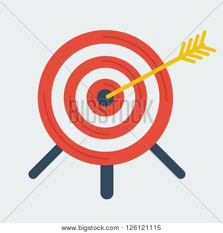Targeting business vector concept. Flat icon. Target with arrow in center