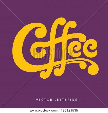 Bright yellow calligraphic Coffee inscription on purple background