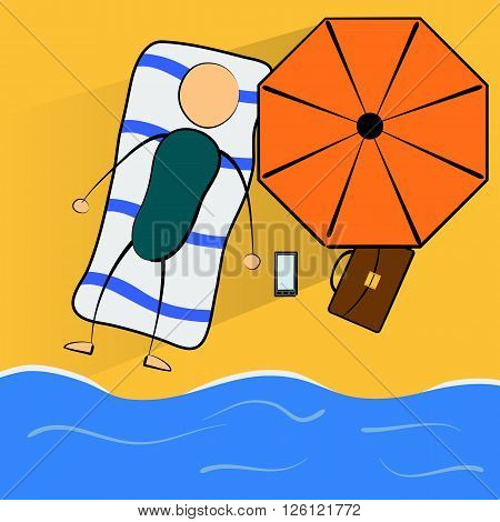 Cartoon businessman relaxes on the beach on vacation. Concept of success job. Relaxation. Summer
