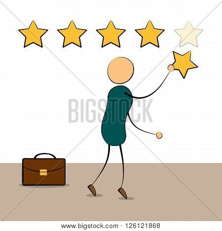 Vector cartoon businessman with rating stars. Pointing fifth star. Customer reviews rating user feedback concept. Doodle style