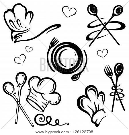 Gastronomy and cooking vector set, kitchen utensils and chef hats.