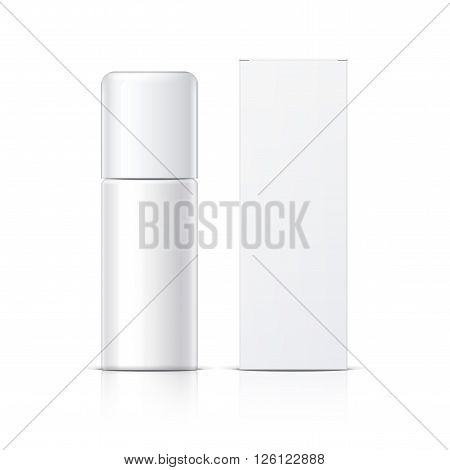 Realistic White Cosmetics bottle can Spray and packaging Deodorant Air Freshener. Object shadow and reflection on separate layers. Vector illustration