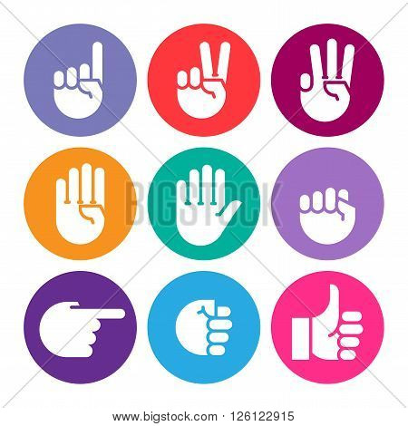 hand gestures. set of color icons. Flat style vector icons emblem symbol For Your Design