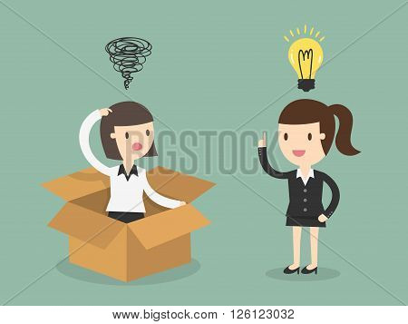 Think out side the box. Business Concept Cartoon Illustration.