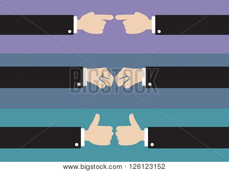 Vector cartoon illustration of three sets of hand gestures in side view isolated on plain colored background.