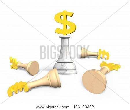 3D Money Chess With Gold Dollar Currency King