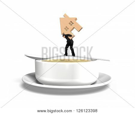 Man Carrying Wooden House Balancing On Spoon With Soup Bowl