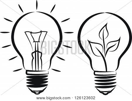 vector outlines of bulb - creative and environmental