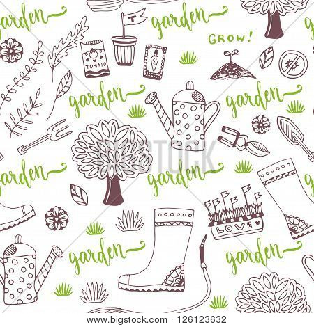 Vector hand sketch Garden pattern with seed packets tools tree and watering can. Vector seamless pattern of gardening tools.