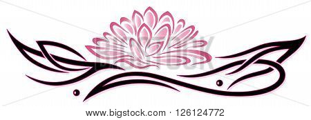 Lotus flower, beautiful waterlily, floral vector decoration, Tattoo style.