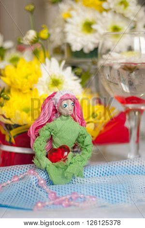 Spring Doll With Red Heart In Hands