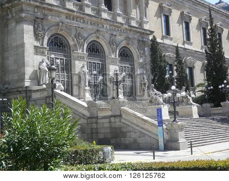National Library of Madrid Spain. architecture and art