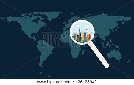 World map and city increased by magnifier