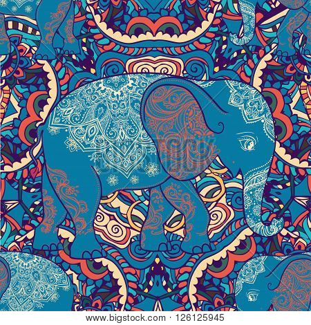 The elephant in the background of the ornament backgrounds. Bright pattern. India ethno style.