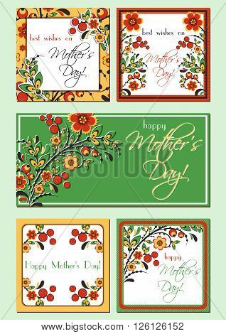 Greeting mini cards with Hohloma floral ornament. Postcard in five variants for Women's Day Mother's Day Birthday Anniversary. Vector illustration