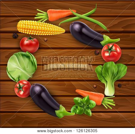 vector vegetables in a circle (tomato, cabbage, eggplant, peppers, corn, beans, carrots)isolated on wooden background